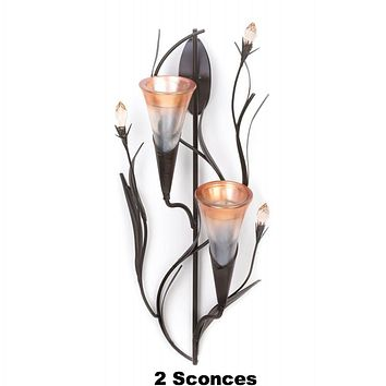 2 Dawn Lily Double Candle Wall Sconces