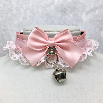 Pastel Pink Kittenplay Collar, Lolita Cosplay Petplay BDSM Collar, Kitten Day Collar- Submissive Collar, Cute Choker- DDLG Little Girl