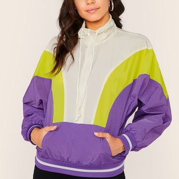 Quarter Zip Colorblock Pullover Windbreaker