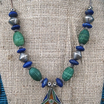 Blue Green Moroccan Necklace Berber Pendant Blue Lapis Lazuli and Nepalese Green Glass Ethiopian Silver Ethnic African Jewelry