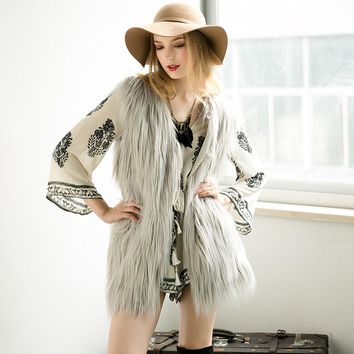 High Quality Plus Size Women  Winter Autumn  Faux Fur Vest Short Fur Sleeveless Coat Multicolor Outwear 2017 New
