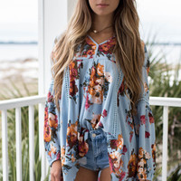 Sun And Shade Dusty Blue Floral Tunic