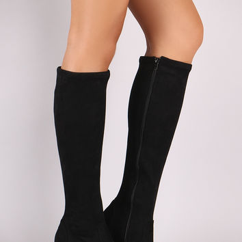Bamboo Suede Almond Toe Block Heeled Knee High Boots | UrbanOG