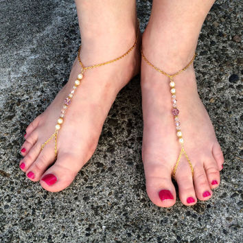 Barefoot Sandals, Beach Wedding, Pearl, Swarovski Crystal, Slave Sandals, Anklet