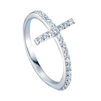 Delicate Sterling Silver Cross Ring