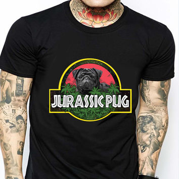 Jurassic Pug Jurassic Park Parody AMR Mens T-shirt Black and White