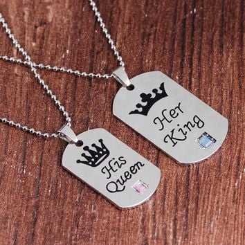 Her King His Queen Necklaces Valentine'S Day Gift Lettering Necklaces Pendants Couple Crown Necklace Beads Chain For Lovers Gift