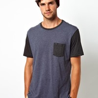 RVCA T-Shirt Contrast Pocket & Sleeve at asos.com