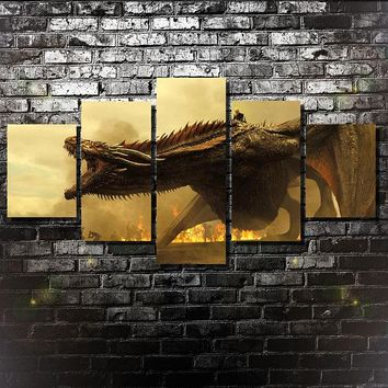 Dragon Game of Thrones Targaryen Large Five Piece Canvas Wall Art Home Decor
