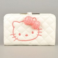 Hello Kitty 3 Dimensional Bowknot Wallet Card Holder Coin Purse Lovable Pink White