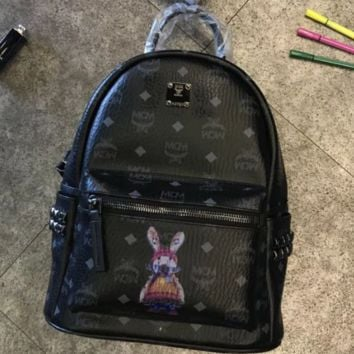 MCM 2018 New Rivet Backpack Bunny Lettering Pack Wild tide Female bag Mummy bag