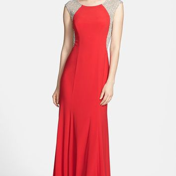 Petite Women's Xscape Crystal Back Jersey Gown