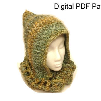 Scarf Pixie Hat Easy Crochet Pattern Pdf File Immediate Download Is not a finished product. It is a PDF Pattern