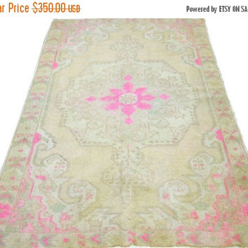 ON SALE Vintage Turkish Oushak Rug With Medallion 89 x 55 inches Free Shipping