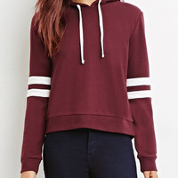 Wine Red Hooded Long Sleeve Drawstring Hoodie