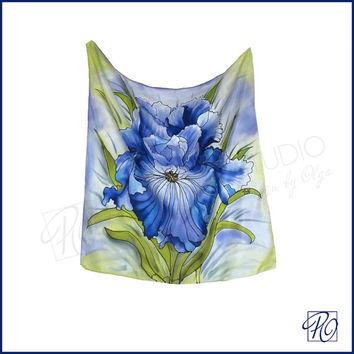 Iris Handpainted Silk Scarf Small Square Art to Wear, Wall Hanging, Neck Scarf 21x21inches, Ready to ship.