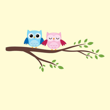 """Owls on a Branch Vinyl Wall Decal Kit with Printed Owls Children Baby Nursery Room Decor 11"""" X 32"""
