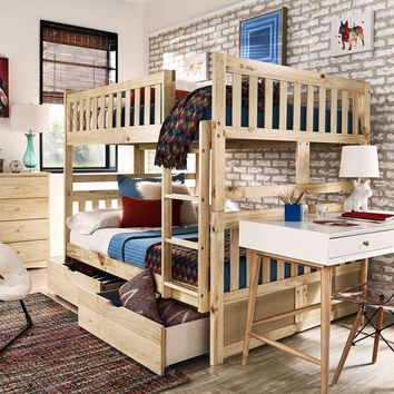 Hunter Full over Full Natural Wood Bunk BedBunk Bed ONLY