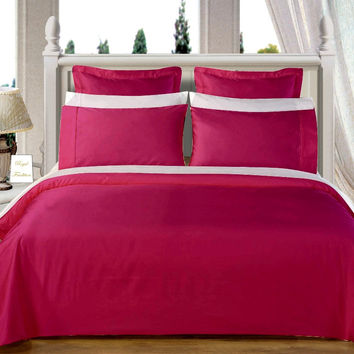 """Burgundy 550TC Olympic Queen Solid Bed in A Bag 90x92"""" Egyptian cotton With Down Alternative Comforter"""