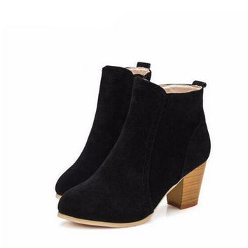 Suede Ankle Boots with Heel