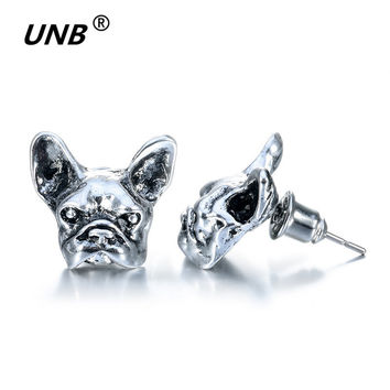 2016 New Summer Style Hippie Chic French Bulldog Stud Earrings Elf Ears Cuff Pendiente Animl Dog Earrings for Women Fine Jewelry