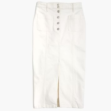 White High-Slit Jean Skirt : shopmadewell midi & maxi | Madewell