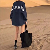 """Burberry"" Women Solid Color All-match Simple Fashion Letter Logo Embroidery Long Sleeve Sweater Tops"