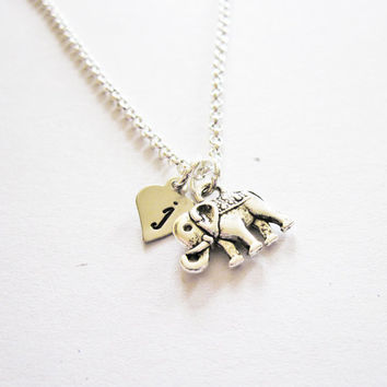 Personalized Elephant Necklace, Dainty elephant Charm Necklace elephant jewelry, tiny elephant necklace, initial necklace, custom letter
