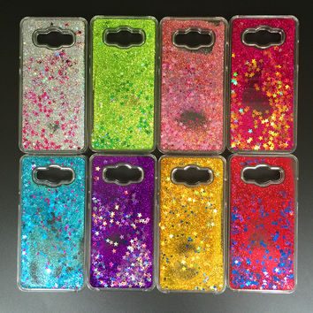 Glitter Stars Dynamic Liquid Quicksand Hard Case Cover For Samsung Galaxy J3 J300 J3109 Transparent Clear Phone Case