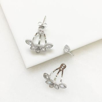 Sterling Silver Rhinestone Ear Jacket Earrings
