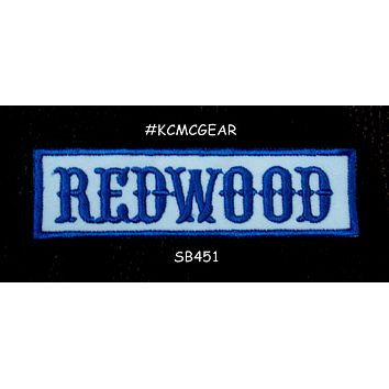 REDWOOD Blue on White Small Patch Iron on for Biker Jacket Vest SB451