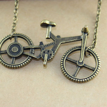 Bicycle Necklace in Vintage Brass color
