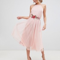 ASOS DESIGN Tulle Midi Dress with Applique Trim at asos.com