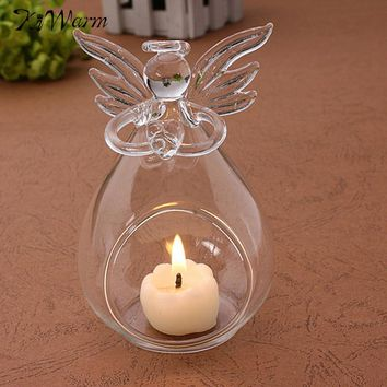 1Pcs Angel Crystal Glass Candle Holder Hanging TeaLight Candlestick Clear Wedding Table Christmas Home Decor Friend Kid Gift
