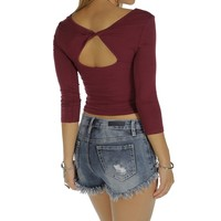 Sale-burgundy Twist Back Crop Top