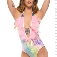 Party Ostrich Bodysuit in Bubble Tie Dye Velvet