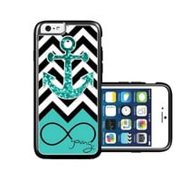 RCGrafix Brand Foreve Young Teal Glitter Anchor iPhone 6 Case - Fits NEW Apple iPhone 6