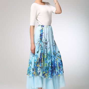 Light blue chiffon print skirt maxi skirt summer women skirt (1258)