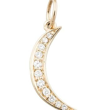 Crescent Moon Mini Charm Pave Diamonds