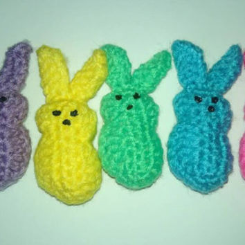 Crochet Marshmallow peeps, Easter peeps, easter bunny peeps, first Easter, Easter gift, stuffed animal, Easter basket, set of 5