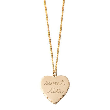 Sweet T**s Brass Necklace