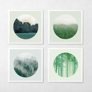 12x12 Landscape Photo Set Woodland photography Nature Forest Field Minimal Emerald Green Circular photo