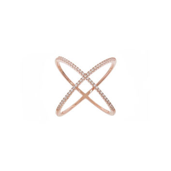 criss cross x ring rose gold