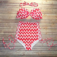 Wave Printing Bow Bikini High Waist Bikinis Push Up Bathing Suit
