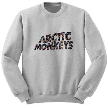 arctic monkeys flower sweater Gray Sweatshirt Crewneck Men or Women for Unisex Size with variant colour