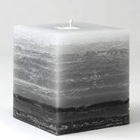 Shades of Gray  Pillar Candle - 4 inch square