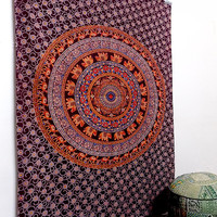 twin cotton tapestry Hippie Wall Hanging Elephant Mandala Bedspread bed cover Indian Bohemian Boho Ethnic Home Decor