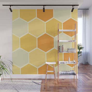 Yellow Honeycomb Wall Mural by spaceandlines