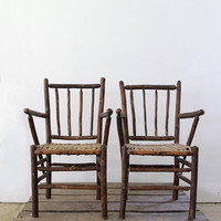 SALE Antique Woven Chairs / American Rustic Lodge Chairs