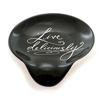 Kitchen LIVE DELICIOUSLY SPOON REST Ceramic Kitchen Family 1004180164